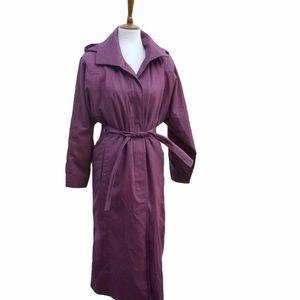 London Fog burgundy hooded trench coat size 16